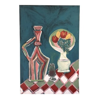 Acrylic on Canvas Still Life Painting of Chianti & Fruit