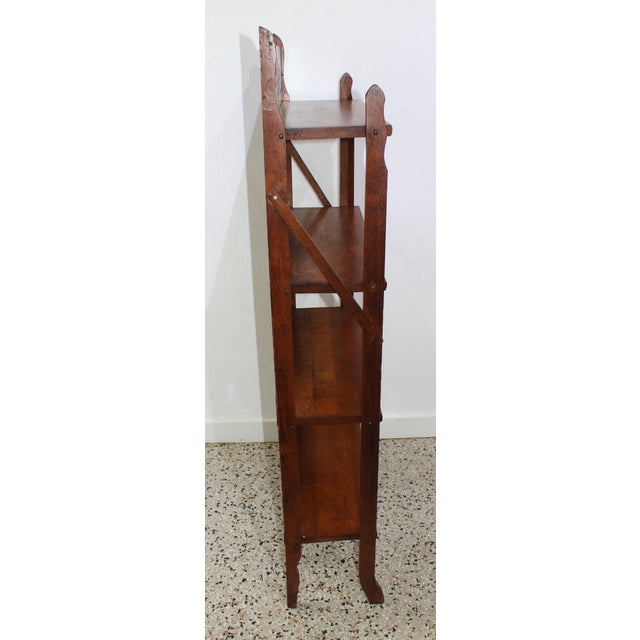 Brown Antique Victorian Folding Bookcase in Incised Oak For Sale - Image 8 of 13
