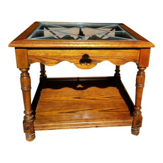 Hammary Leaded Glass & Solid Wood End Table