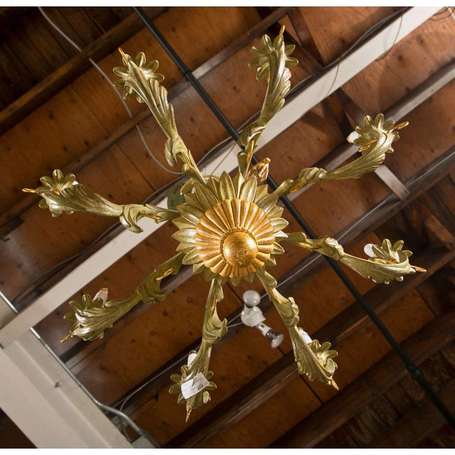 French Wood Foliate Chandelier - Image 3 of 7