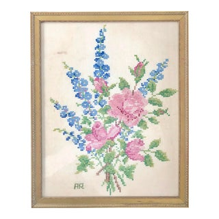 Antique Framed Floral Bouquet Cross Stitch For Sale