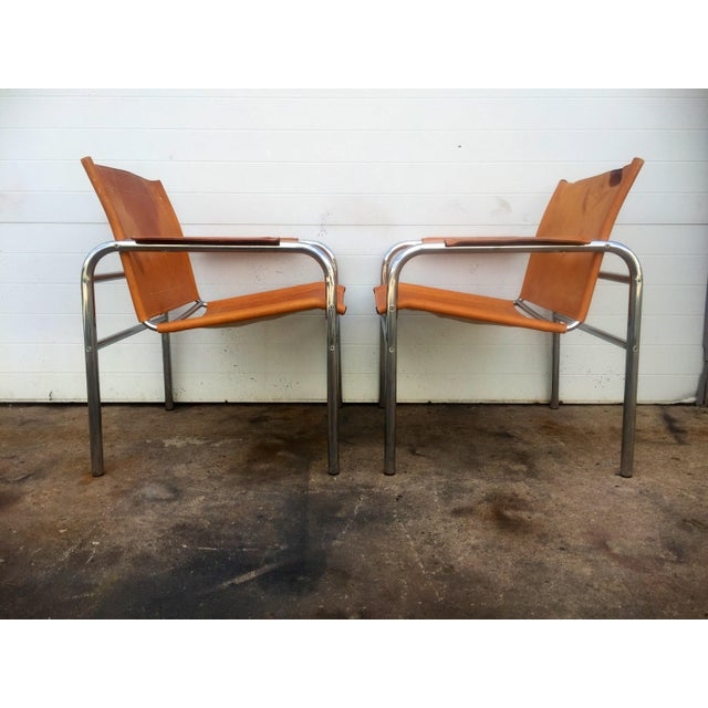 Animal Skin Distressed Leather & Chrome Sling Chairs - A Pair For Sale - Image 7 of 8