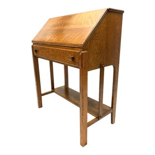 Antique Mission Oak Arts & Crafts Slant Front Secretary Desk For Sale