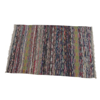 Swedish Hand Woven Rag Rug - 2′9″ × 4′2″ For Sale