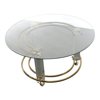 Lucite & Brass Coffee Table on Casters by Charles Hollis Jones For Sale