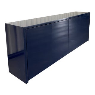 1980s Glossy Royal Dark Blue Lacquered Credenza Sideboard For Sale
