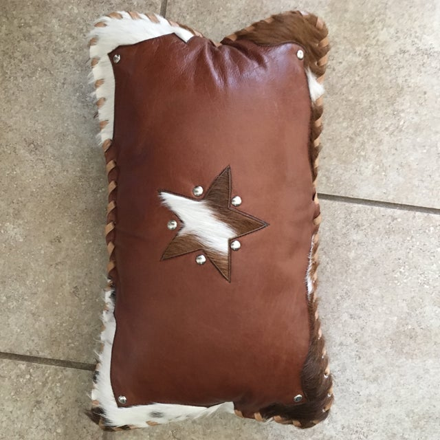Handmade Leather & Cowhide Lumbar Texas Pillow For Sale - Image 10 of 11