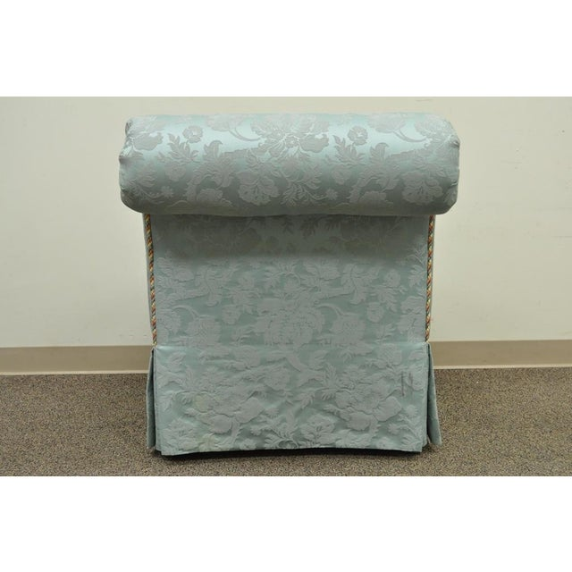 Vanguard Furniture Rolled Back Blue Upholstered Slipper Chair - Image 7 of 11