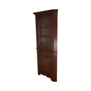 Country Style Custom Crafted Solid Cherry Corner Cabinet For Sale