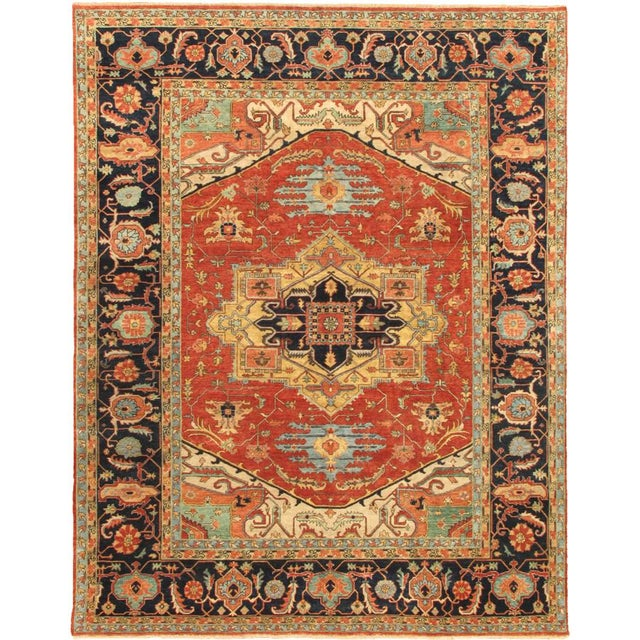 "2010s Modern Pasargad Serapi Collection Wool Area Rug, 9'1"" X 12'1"" For Sale - Image 5 of 5"