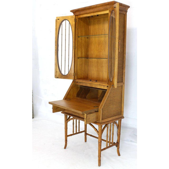 1970s Mid-Century Modern Faux Bamboo Rattan Light Fruitwood Finish Secretary Desk For Sale - Image 12 of 14