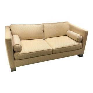 Transitional Camel Textiel Upholstered Sofa