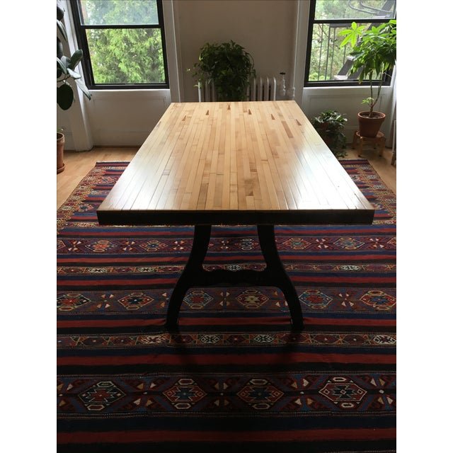 Reclaimed Industrial Wood Bowling Alley Farm Table - Image 7 of 7