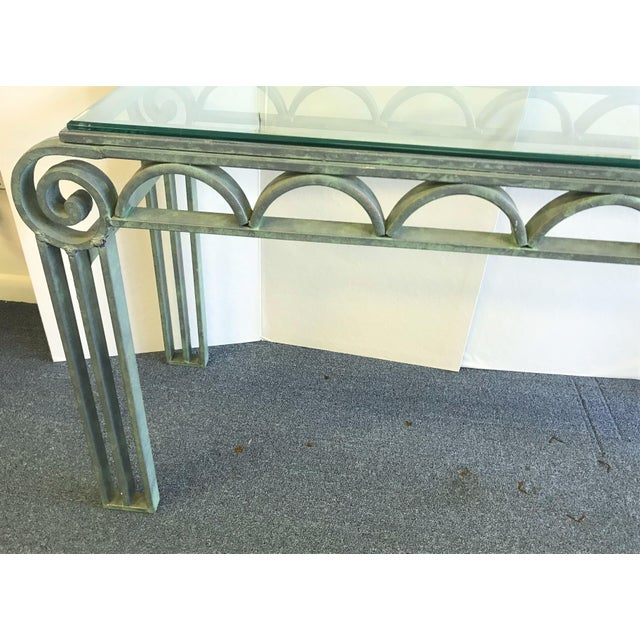 Neoclassical Iron Scroll Console Table in a Verdigris Finish For Sale In West Palm - Image 6 of 12