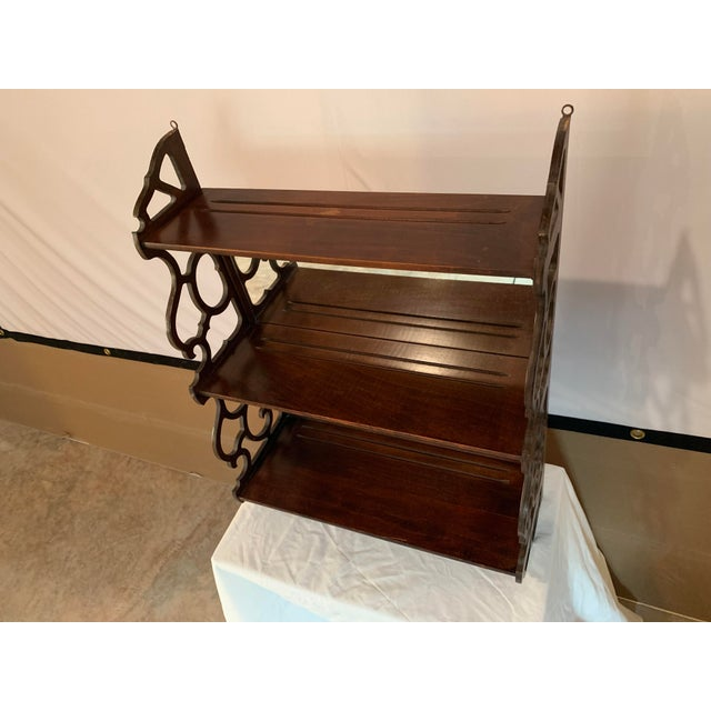 Antique Chippendale Carved Mahogany 3 Tier Wall Hanging Display Rack For Sale - Image 9 of 12