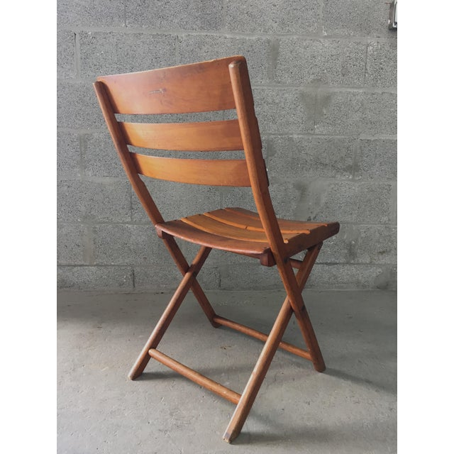 Vintage Rustic Slat Wood Folding Chairs - A Pair - Image 7 of 9