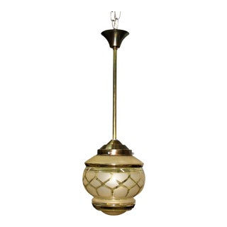 1940s French Art Deco Gold Globe Chandelier Lantern For Sale