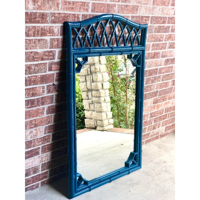 Thomasville Faux Bamboo High Gloss Sapphire Blue Mirror For Sale - Image 6 of 10