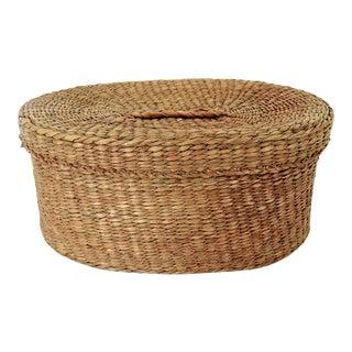 Fine Vintage Oval Hand Woven Fibre Trinket Box / Basket For Sale
