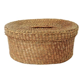 Fine Vintage Oval Hand Woven Fibre Trinket Box / Catchall For Sale