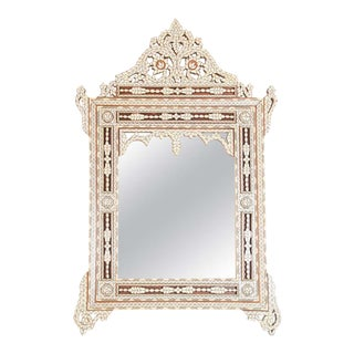 Syrian Wall Mirror Inlaid with White Mother of Pearl For Sale