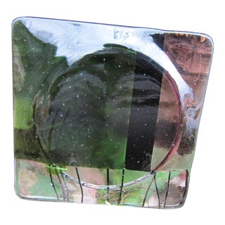 1980s Vintage Modern Blown Glass Coaster/ Trinket Dish For Sale