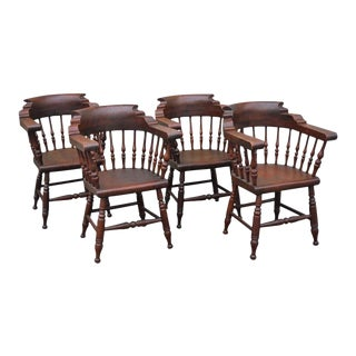 19thc Set of Four Firehouse Windsor Captains Chairs