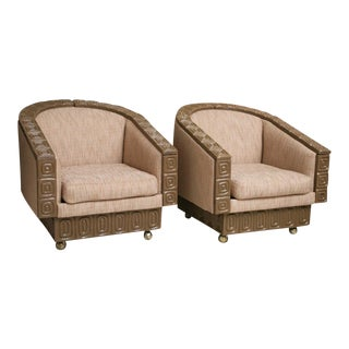 Pair of Romweber Limed Oak Revolving Club Chairs For Sale