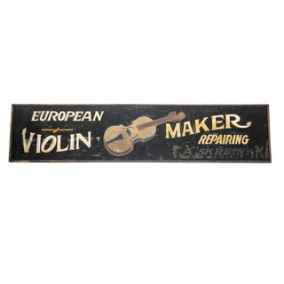 "Antique Hand Painted ""European Violin Maker"" Luthier Sign For Sale"