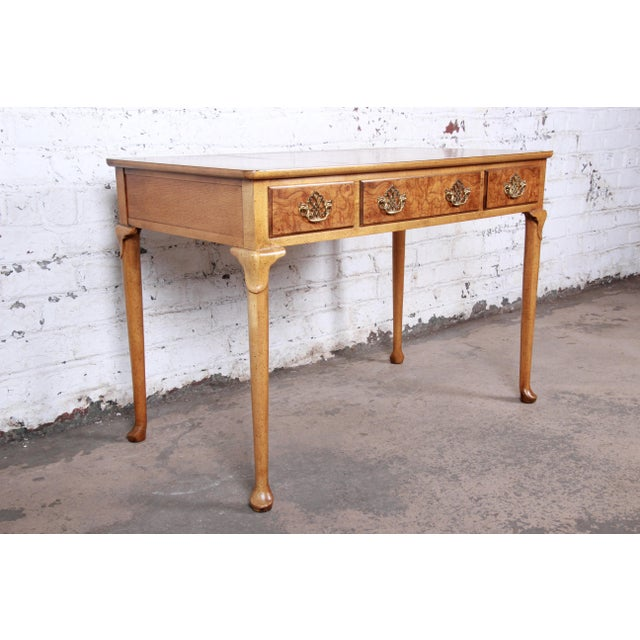 Mid 20th Century Baker Furniture Queen Anne Burl Wood Writing Desk For Sale - Image 5 of 13