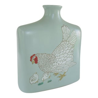 Vintage Hen and Chicks Robin's Egg Blue Vase For Sale