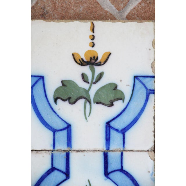 This original Set of 2 Tiles Flowers and Ribbons, Original Art Deco, were made in Portugal in the beginning of the 20th...