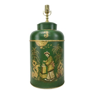 English Export Tea Caddy #3 Lamp Green Background With Gold Painted Accents For Sale