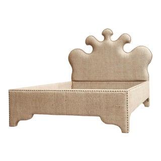 Noir Queen Burlap Bed