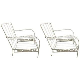 "Pair of Salterini ""Grape Vine"" Lounge Chair Frames in White For Sale"