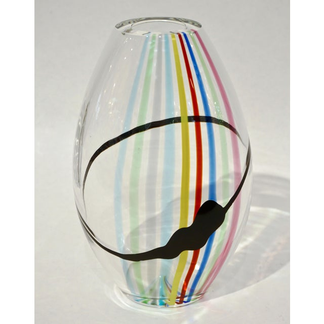 Modern 1970s Formia Italian Pop Art Yellow Green Red Blue Crystal Murano Glass Vase For Sale - Image 3 of 10