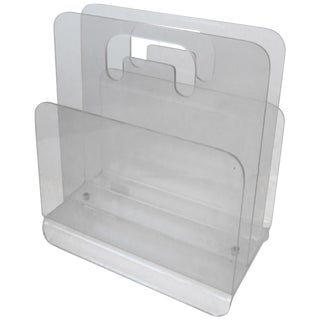 Clear Acrylic Magazine Holder, Circa 1976 For Sale