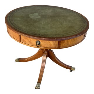 Early 20th Century Beacon Hill Collection Leather Top Drum Table For Sale