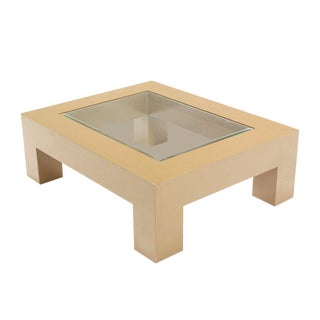 Geometrical Rectangular Beige Lacquer Base with Glass-Top Coffee Table