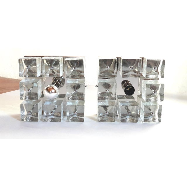 Pair of square wall sconces or flush mount lights, in chrome and Murano clear glass cubes. Glasses are from an old Gaetano...