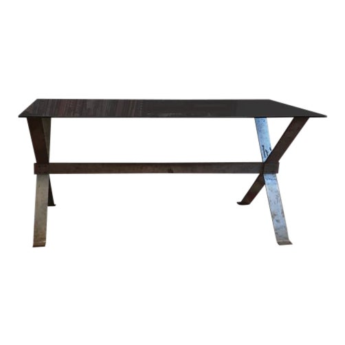 20th Century Industrial and Eclectic Smoked Glass and Steel X Base Console For Sale