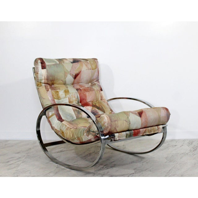 Mid-Century Modern Mid Century Renato Zevi Chrome Elliptical Rocking Chair For Sale - Image 3 of 10