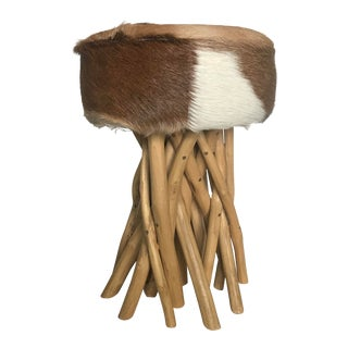 Modern Bamboo and Cowhide Stool For Sale