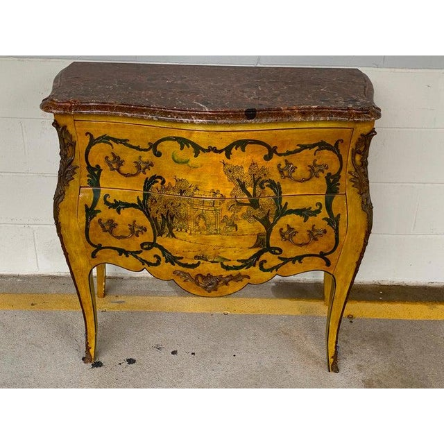 Fine Italian Piranesi topographical Polychromed marble top commode. Painted with various views of Rome after Piranesi,...