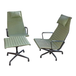 Eames Aluminum Group Lounge Chairs & Ottoman - Set of 3