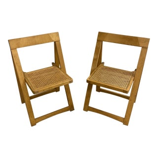 Aldo Jacober Caned Maple Folding Chairs- S\2 For Sale