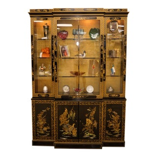 Vintage Drexel Asian Chinoiserie Lighted China Cabinet For Sale