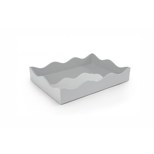 The Lacquer Company Rita Konig Collection Medium Belles Rives Tray in Pale Grey For Sale - Image 4 of 5