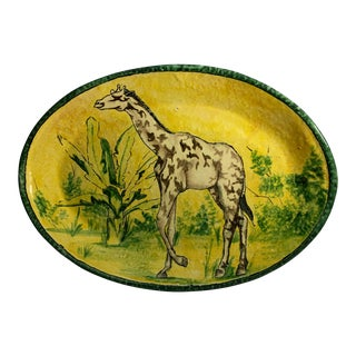 Vintage Giraffe Design Terra Cotta Platter For Sale