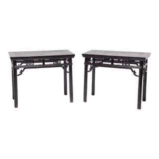 Pair of Chinese Half Tables With Wrap-Around Stretchers For Sale